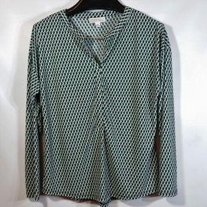 L/S Tunic Blouse Geometric Grid Print Open Collar